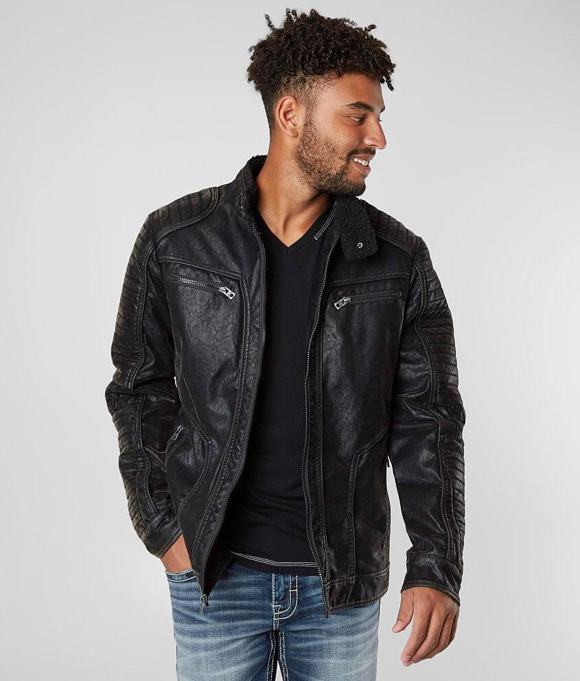 Buckle Black Distressed Faux Leather Jacket - Men's Coats/Jackets in Black  | Buckle