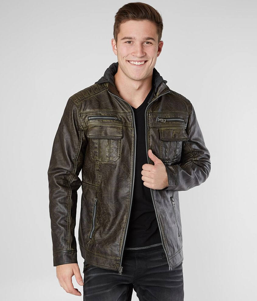 Buckle Black Faux Leather Jacket front view