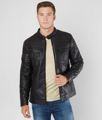 Buckle Black Faux Leather Moto Jacket