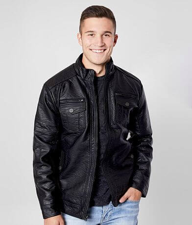 Buckle Black Faux Leather Jacket