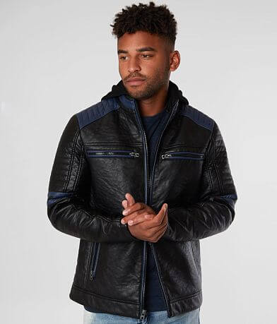 Buckle Black Pieced Faux Leather Jacket