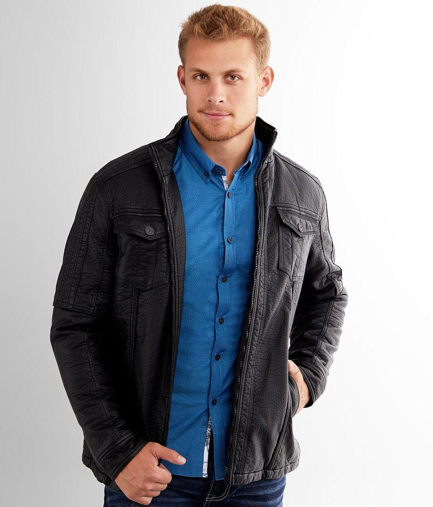 Buckle Black Pieced Moto Jacket front view