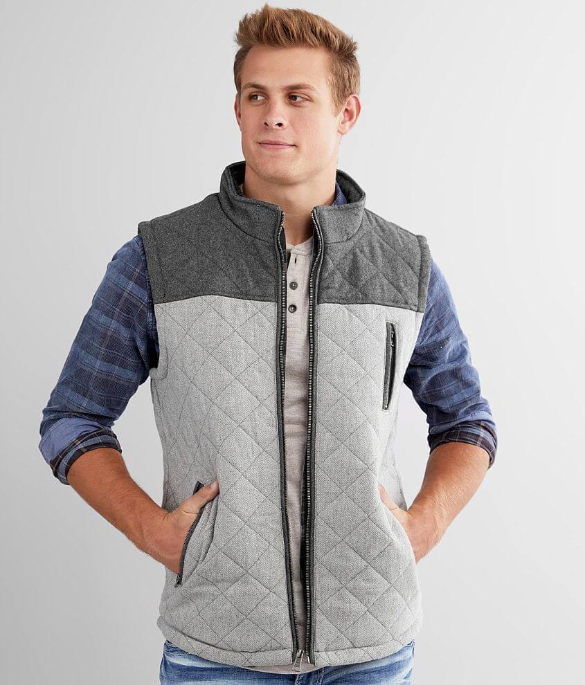 BKE Quilted Color Block Vest front view
