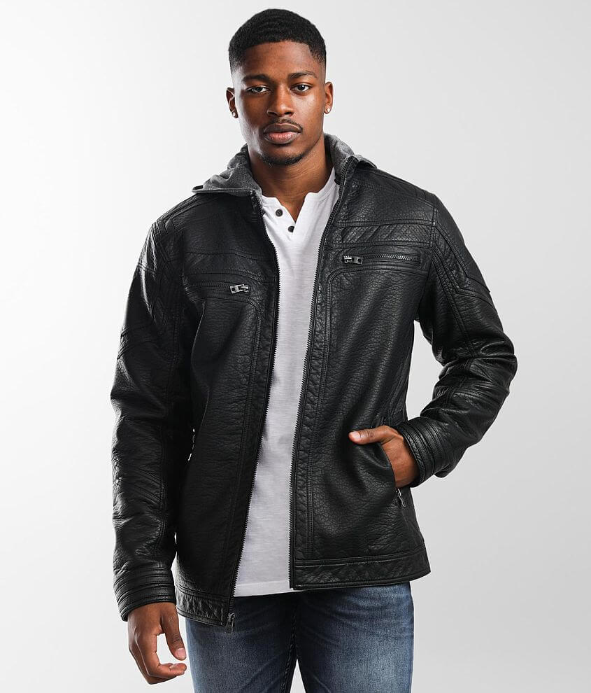 Buckle Black Textured Faux Leather Jacket front view