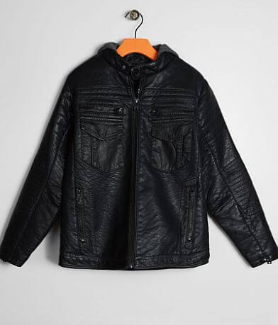 Boys - Buckle Black Faux Leather Jacket