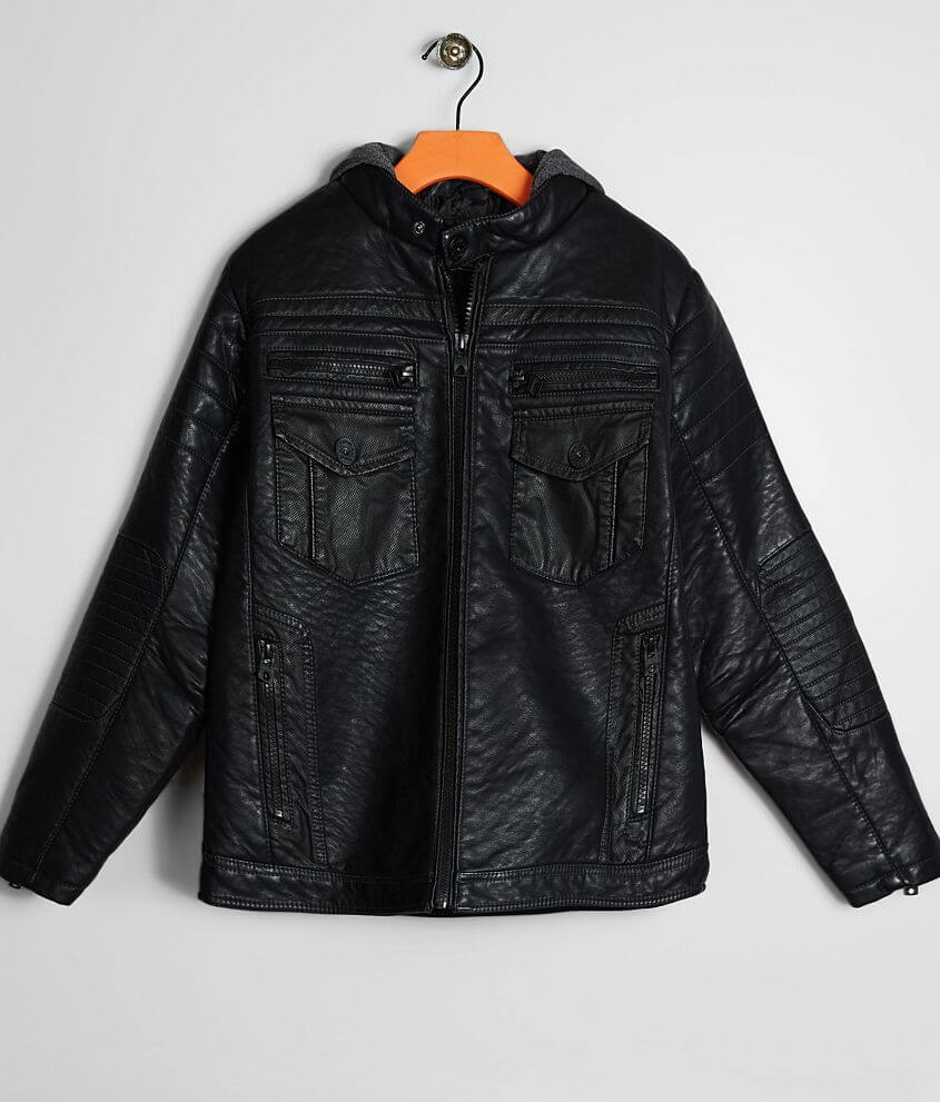 Boys - Buckle Black Faux Leather Jacket front view