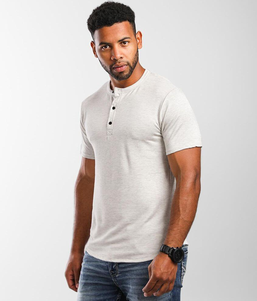 Rustic Dime Heathered Knit Henley front view