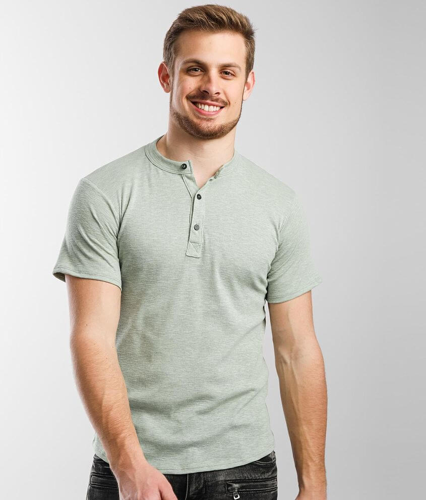 Rustic Dime Ribbed Henley front view