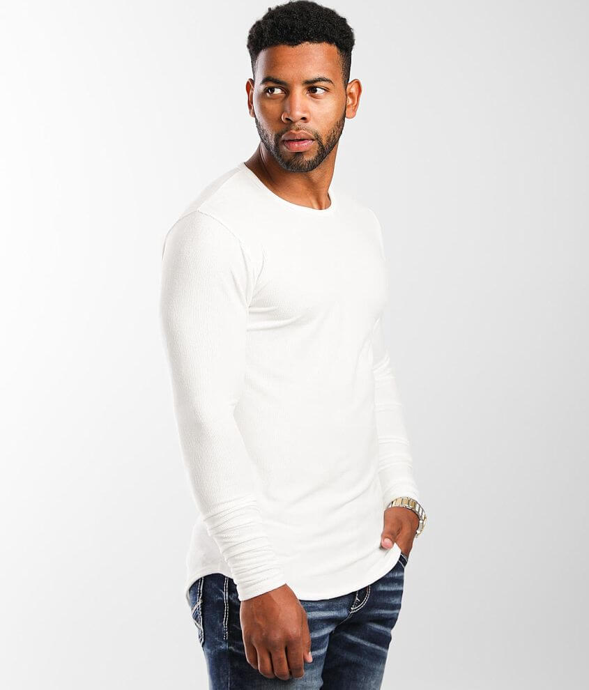 Rustic Dime Micro Ribbed Long Body T-Shirt front view