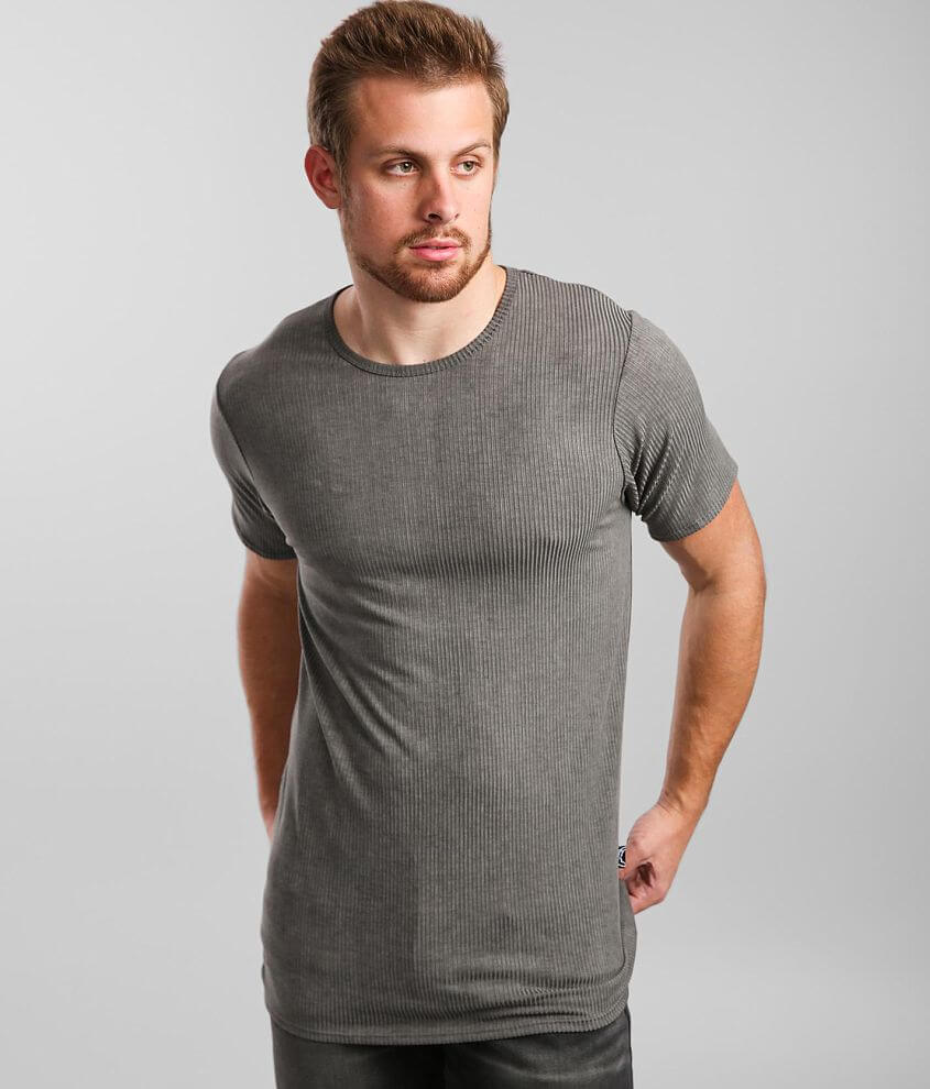 Rustic Dime Ribbed Long Body T-Shirt front view
