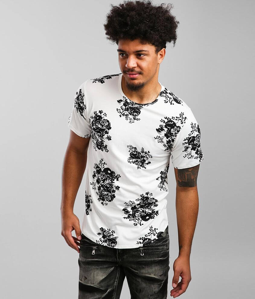 Rustic Dime Floral Long Body T-Shirt front view