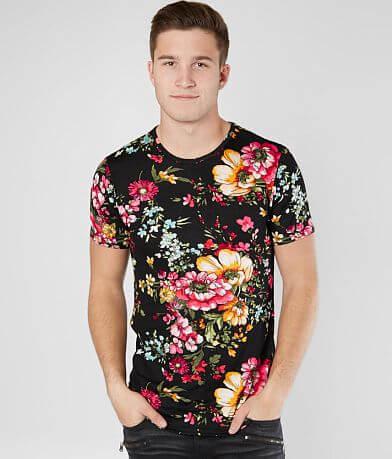 Rustic Dime Floral Long Body Stretch T-Shirt