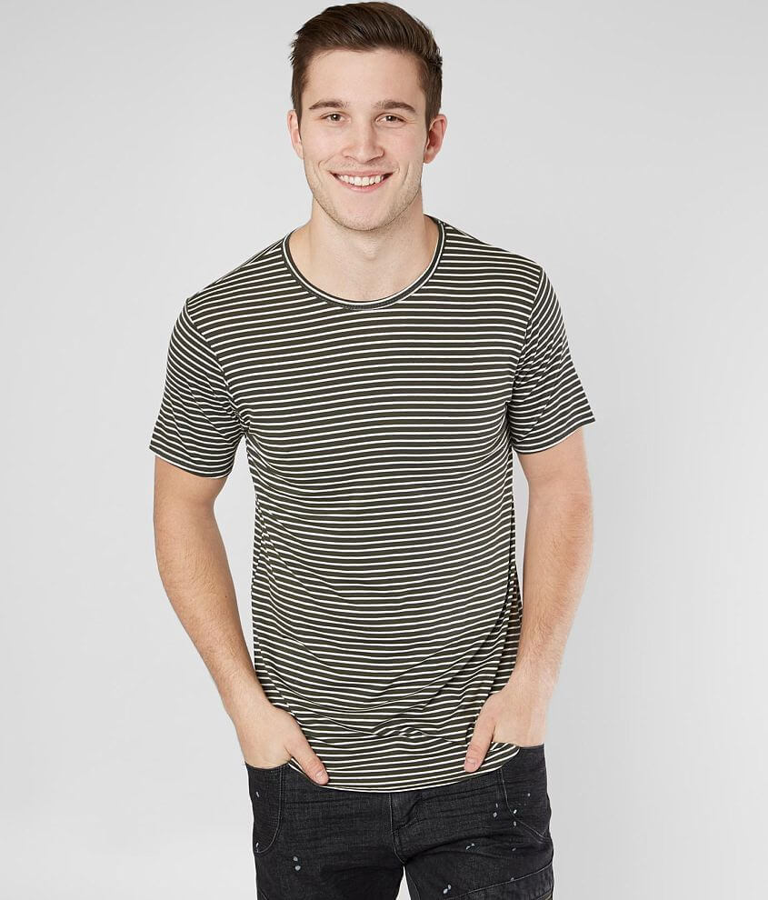 Rustic Dime Striped Long Body Stretch T-Shirt front view