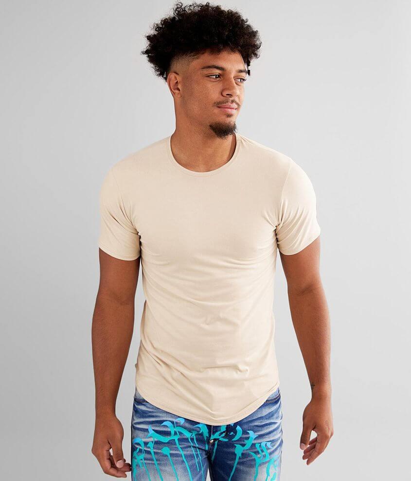 Rustic Dime Faux Suede Long Body T-Shirt front view