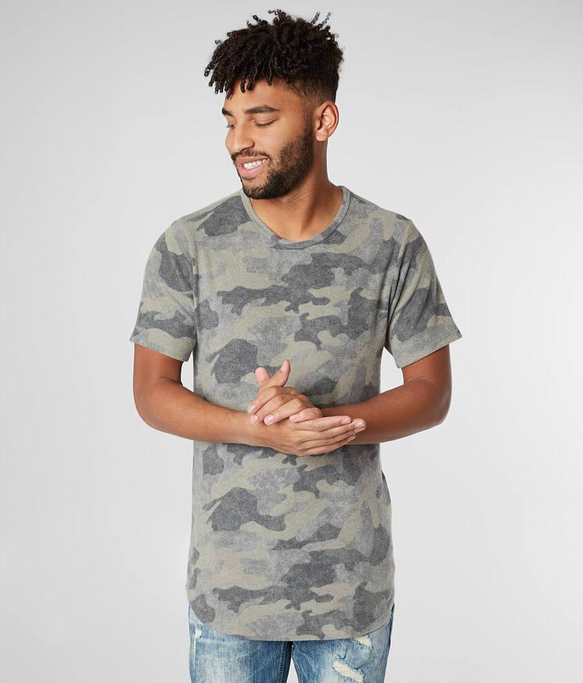 Rustic Dime Camo Fleece Long Body T-Shirt front view