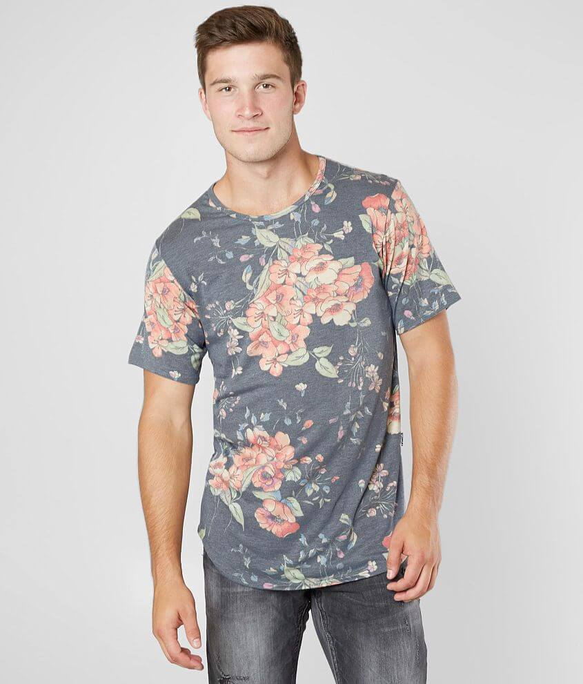 Rustic Dime Floral Long Body Stretch T-Shirt front view