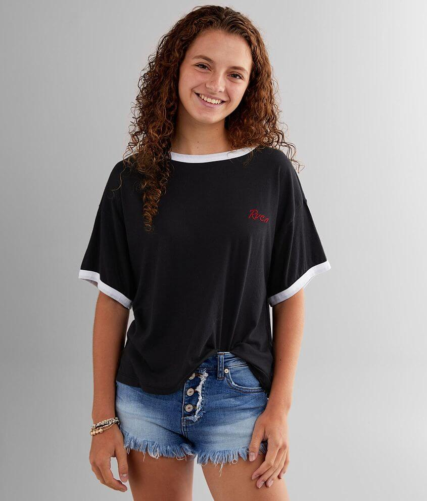 RVCA Scrypt Ringer T-Shirt front view