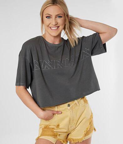 RVCA Lines Boyfriend Cropped T-Shirt