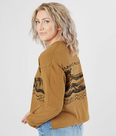 RVCA Warped Palm Cropped Sweatshirt