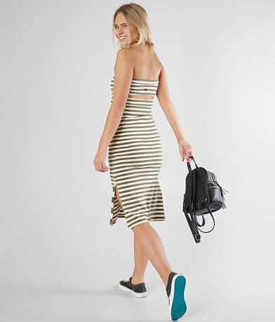 RVCA Raincheck Fitted Strapless Midi Dress