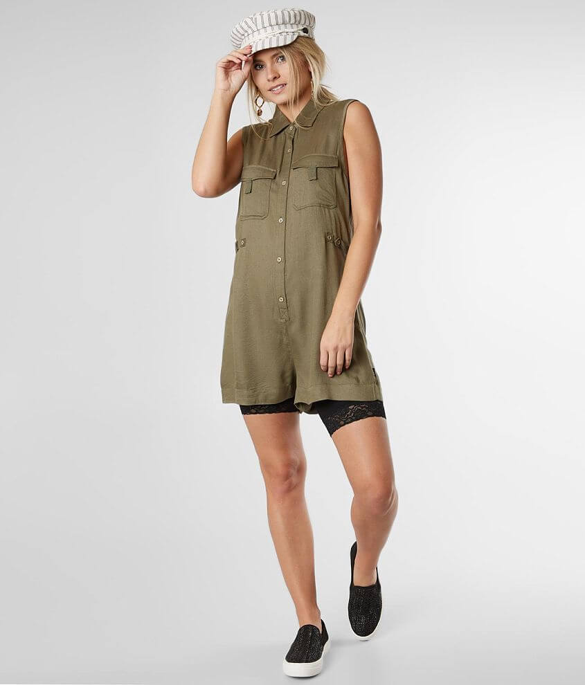 RVCA Watson Button Front Romper front view