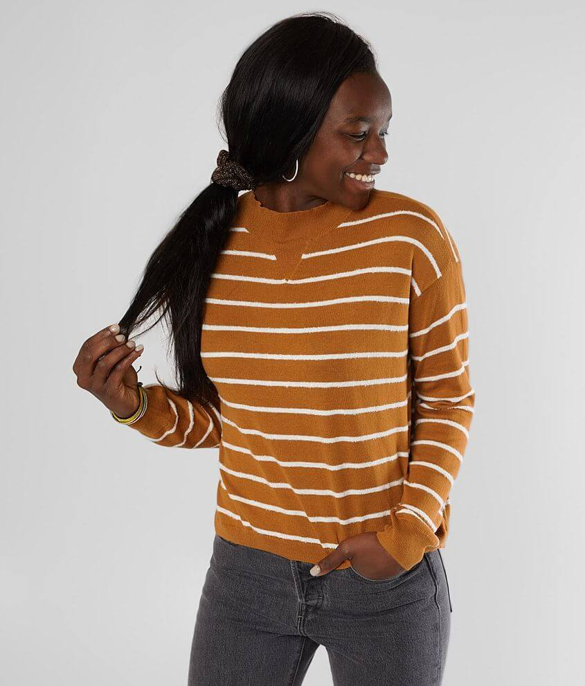 Striped mock neck lightweight sweater High low hem Bust measures 40\\\