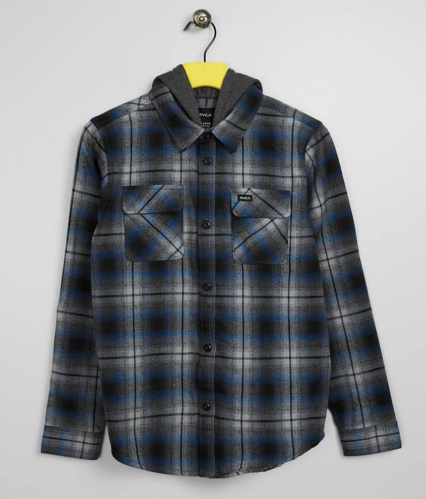 Boys - RVCA Hostile Hooded Flannel Shirt front view