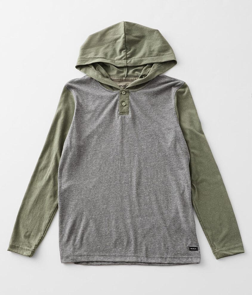 Boys - RVCA Pick Up Hooded Henley front view