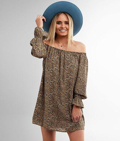 Daytrip Off The Shoulder Cheetah Print Dress