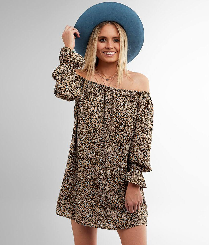 Daytrip Off The Shoulder Cheetah Print Dress front view