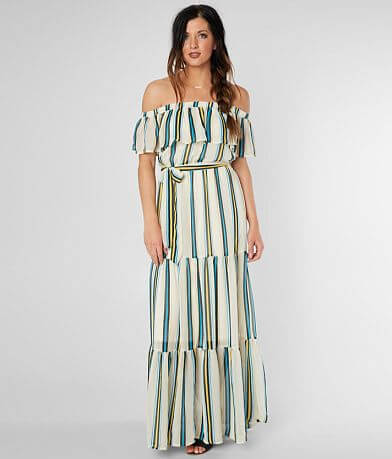 Flying Tomato Off The Shoulder Striped Maxi Dress