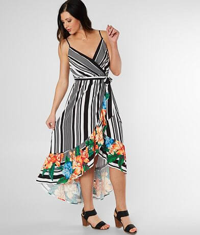 Flying Tomato Striped Floral High Low Dress