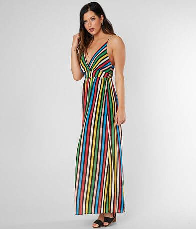 Flying Tomato Striped Chiffon Maxi Dress