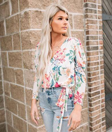 Willow & Root Floral Surplice Mesh Blouse
