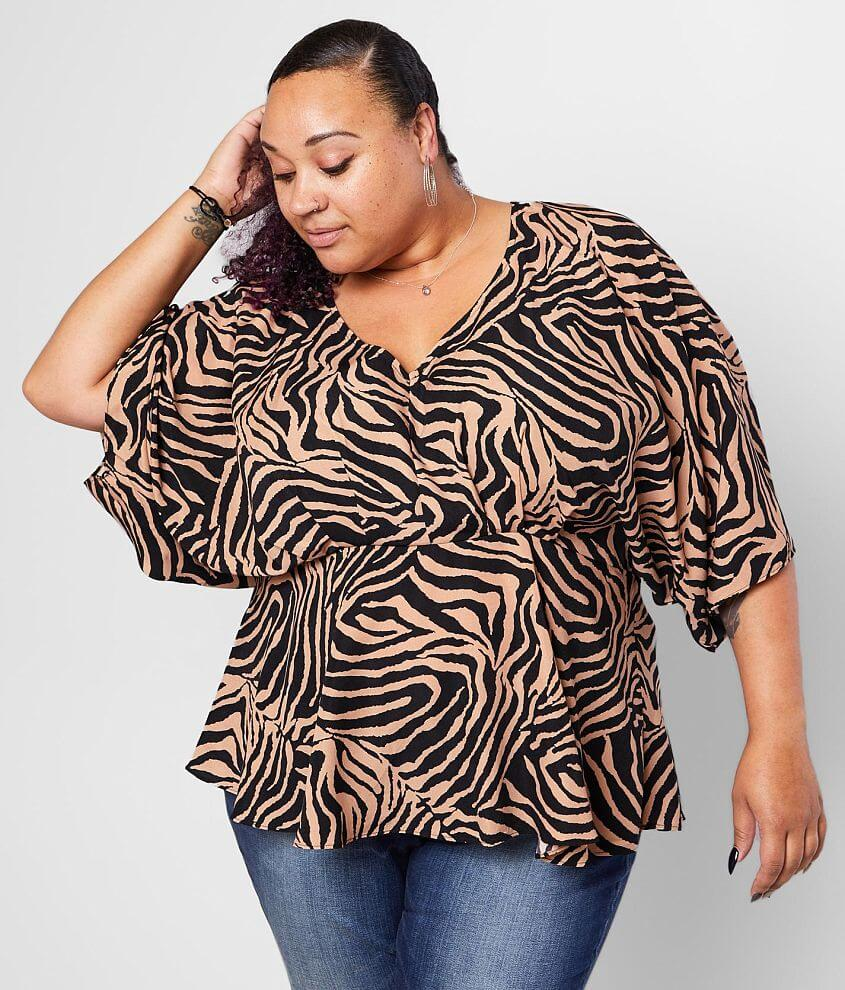 Flying Tomato Zebra Peplum Top - Plus Size Only front view
