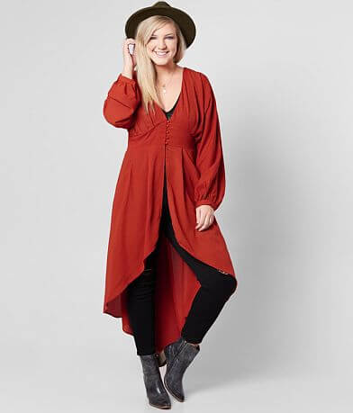 Flying Tomato High Low Hem Kimono - Plus Size Only