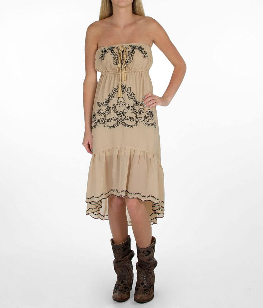 Flying Tomato Embroidered Tube Top Dress front view