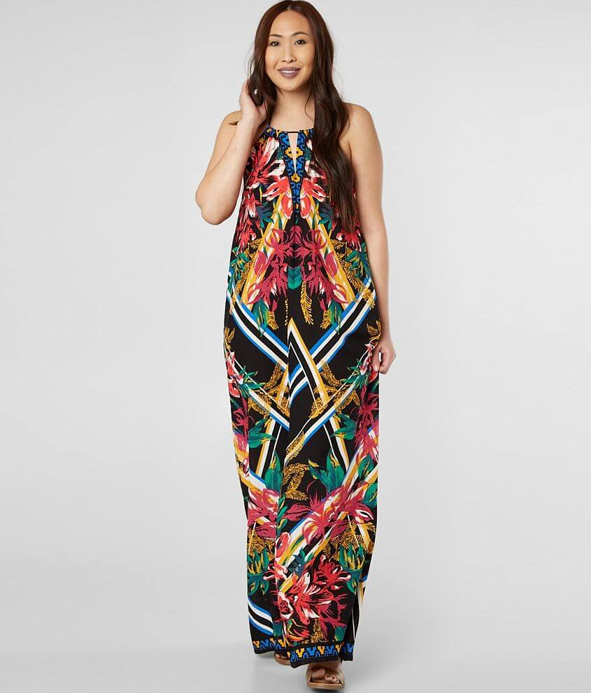 Flying Tomato Tropical High Neck Maxi Dress front view