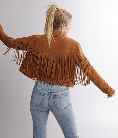 Flying Tomato Faux Suede Fringe Jacket