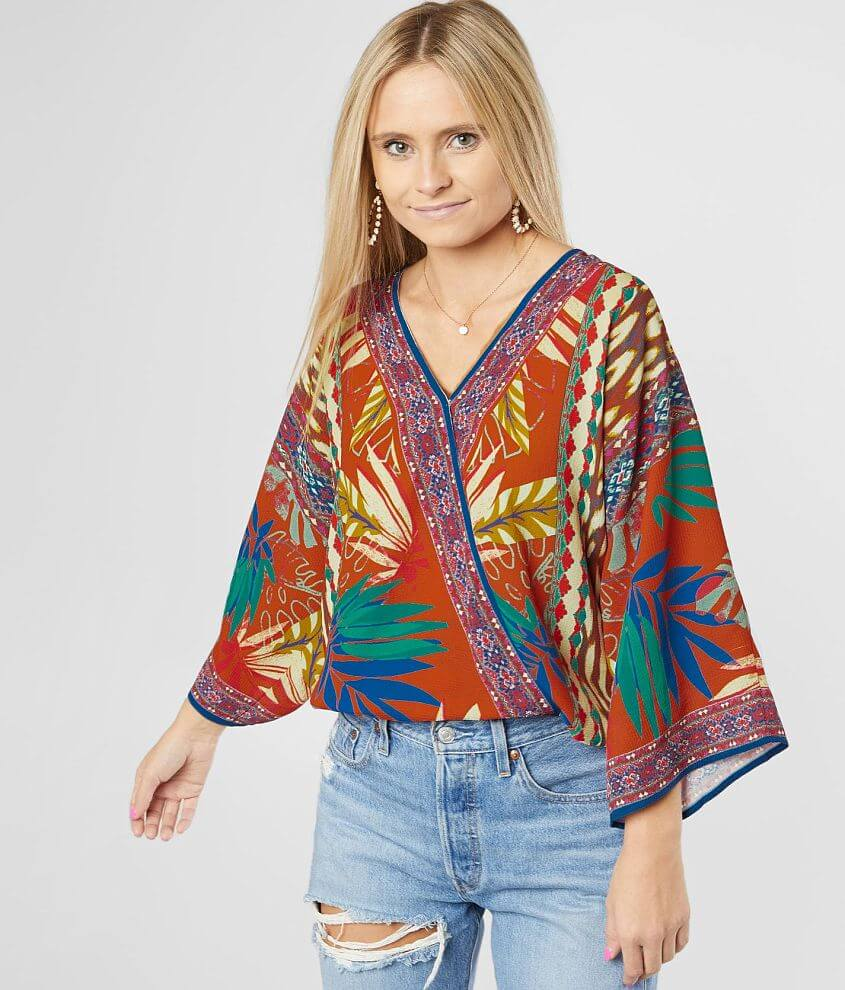 Flying Tomato Tropical Mixed Print Top front view