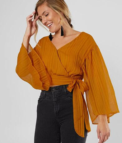 Flying Tomato Striped Chiffon Cropped Top