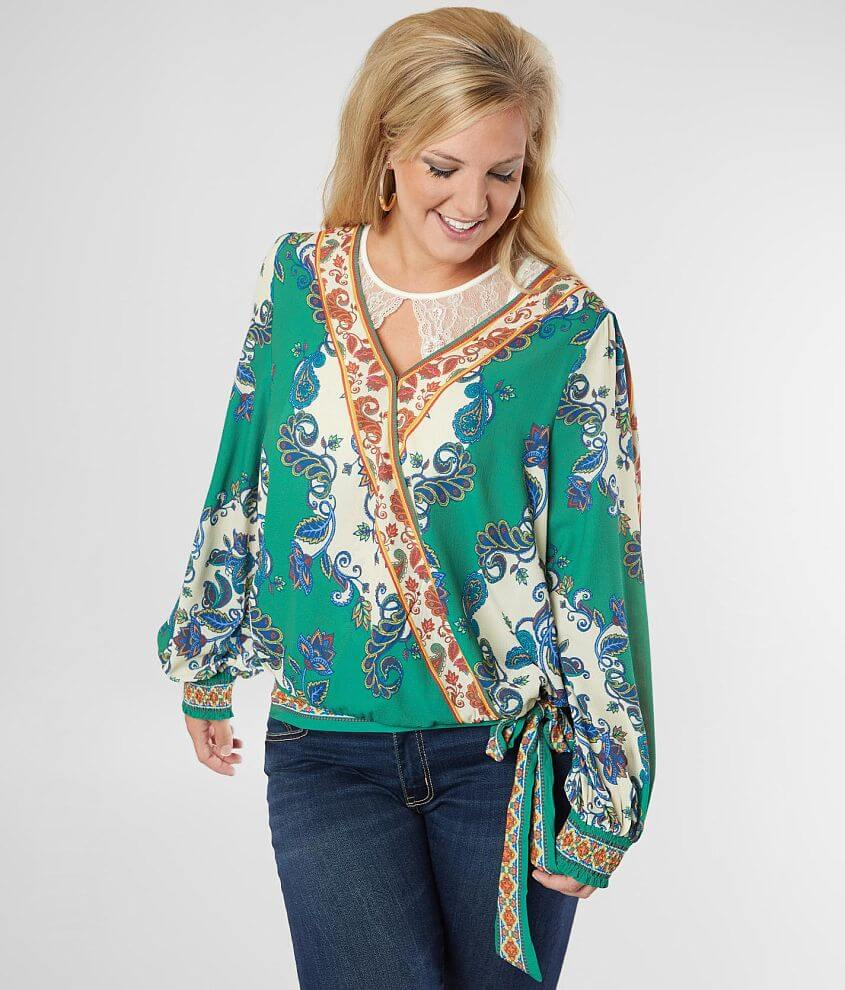 Flying Tomato Floral Paisley Top - Plus Size Only front view