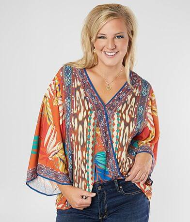 Flying Tomato Tropical Print Top - Plus Size Only