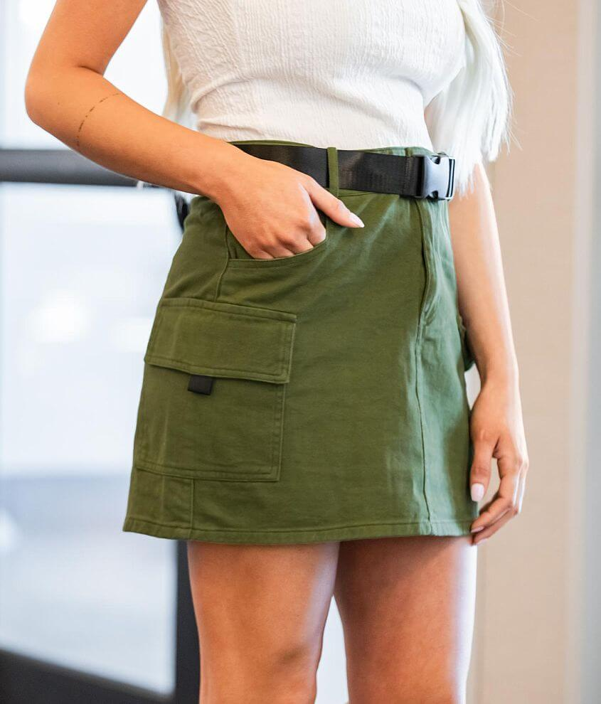 Know One Cares Cargo Denim Mini Skirt front view