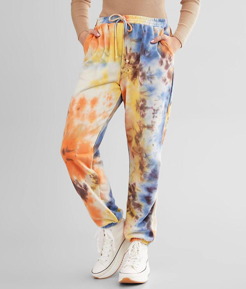 Know One Cares Tie Dye Jogger front view
