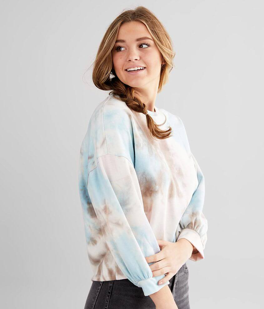 Know One Cares Tie Dye Pullover front view