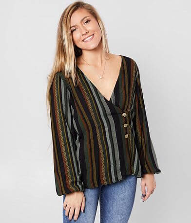 Daytrip Striped Woven Surplice Top