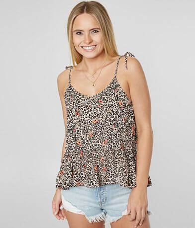 Gypsies & Moondust Floral Peplum Tank Top