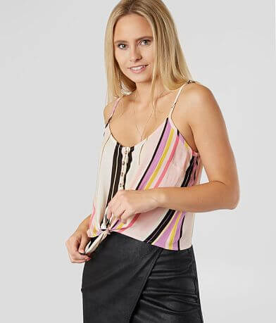 Gypsies & Moondust Striped Henley Tank Top