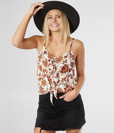 Gypsies & Moondust Floral Henley Tank Top